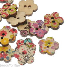 BE 100PCs Wooden Buttons Flower Pattern Mixed Fit Sewing and Scrapbook