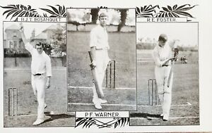 England Cricketers PF Warner, RE Foster &  BJT Bosanquet. Antique Postcard