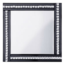 Triple  Bar Square Mirror in Black & Silver With Crystal Effect Glass Litecraft