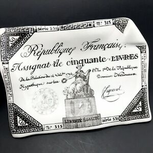 Fornasetti Milano French Assignat Ashtray Vtg Trinket Dish Currency Note FLAWS
