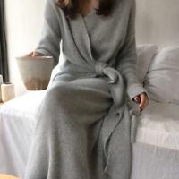 Cashmere Sweater Dress Women Fashion Office Lady V Kneck Long Sleeve Knit Dress