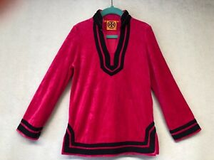 Tory Burch Girls Kids Pink Navy Velvet Tunic Cover sz S Or 4-5 YO FREE SHIP