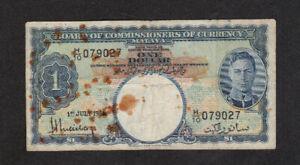 1 DOLLAR VG-  BANKNOTE FROM BRITISH MALAYA 1941 PICK-11