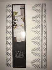 "NATE BERKUS Metallic Table Runner IVORY/SILVER LEAF 14""x72""NWT Dining Room Decor"