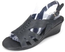 KEEN Women's Elizabeth Blue Leather Open Toe Sling Back Wedge Sandals US 7.5