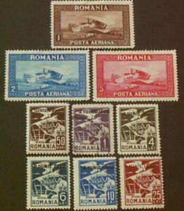 3 AIR MAIL & 6 OFFICIAL STAMPS FROM ROMANIA, 1928-1930