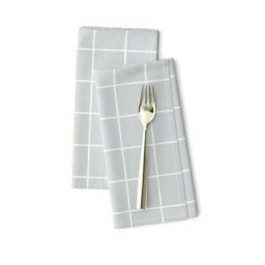 Grid Gray Lines Squares Math Cotton Dinner Napkins by Roostery Set of 2