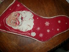 Very Vintage Santa Claus Christmas Stocking, Linen, 18 x 9 in.