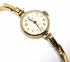 Ladies / Womens 9ct 9carat Yellow Gold Everite Watch With Wind Up Movement