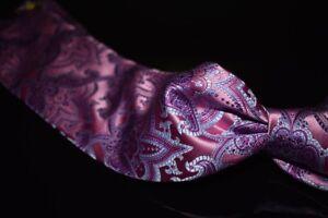 LNWOT Robert Talbott Best Class Thick Satin Pink Purple Woven Paisley Silk Tie