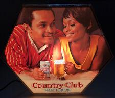 Vtg Country Club Malt Liquor Lighted Sign Black Americana Pearl Beer Texas 70s