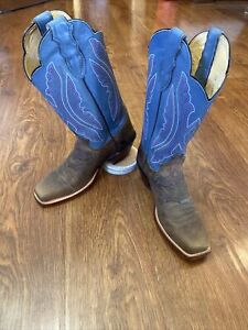Justin Bay Apache Cowgirl Western Boots Womens Size 7 B L2675 Brown/Blue Square