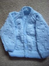 """Baby Boy's Blue Hand Knitted Cardigan 0- 3 months 16 """" Chest BN"""