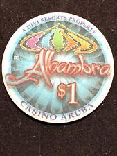 ALHAMBRA CASINO CHIP $1 CHIP ARUBA POKER BLACKJACK VINTAGE