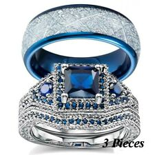 His and Her TITANIUM  BLUE Cz Silver Plated Bridal Engagement WEDDING Ring Set