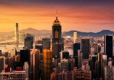 HONG KONG SKYLINE NEW A1 CANVAS GICLEE ART PRINT POSTER