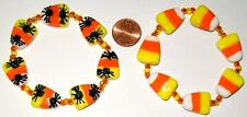 HALLOWEEN STRETCH BRACELET-CANDY CORN/SPIDERS-REVERSIBLE-HANDCRAFTED#846