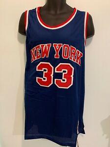 New York 33 Patrick Ewing Basketball Hardwood Classic Jersey Man Navy Red NWT