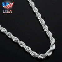 STERLING SILVER PLATED 2 MM ROPE 16,18,20,24,30 INCH CHAIN NECKLACE From USA