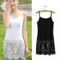 Ladies Camisole Lace Top Extender Trim Long Soft Dress Cotton Black White Floral