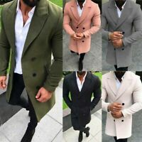 2019 Mens Winter Warm Overcoat Wool Coat Trench Tops Outwear Peacoat Long Jacket