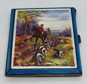 English Antique Sterling Silver Enamel Fox Hunt Cigarette Card Case