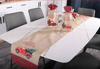 US! Christmas Truck Table Runner Tablecloth Cover Xmas Party Kitchen Décor
