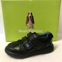 Hush Puppies Kids Boys Black Leather Back School Shoes Trainers Formal Casual St