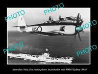 OLD LARGE HISTORIC PHOTO AUSTRALIAN NAVY SEA FURIES PLANES & HMAS SYDNEY c1950