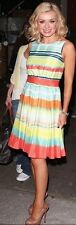 TED BAKER ~Sunset Stripe~ Dress UK 14 4 ~ Party ~Wedding~ Cruise Skater ~Orange~