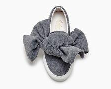 Joshua Sanders Women's Wool Bow Gray Slip On Sneakers Made In Italy Size 35