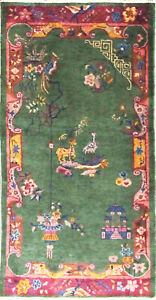 """Antique Art Deco Chinese Rug,The Goat and Ostrich   3'1"""" x 5'10"""" #17228"""