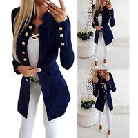 Damen Langarm Blazer Anzug Sakko Business Cardigan Tops Office Jacke Mantel Mode