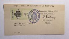 Consular stamp on visa fragment Sweden 1949