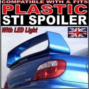 PLASTIC ABS Rear Boot Spoiler + LED light FOR Subaru Impreza WRX STI 7 8 9 01-07