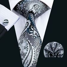 SN-1570 Paisley Grey New Fashion  Mens Tie Silk Necktie Hanky Cufflinks Sets