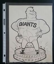 "VINTAGE FOOTBALL NFL Cartoon Team Print NEW YORK GIANTS 8""X10"" Original Print"
