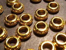 30pc Gold Tibetan Silver Metal Alloy Smooth Rondelle Spacer Beads Large Hole