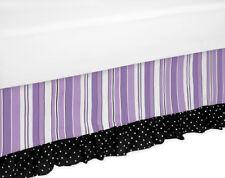 Sweet Jojo Designs Toddler Bed Skirt for Purple Black Kaylee Kids Bedding Sets