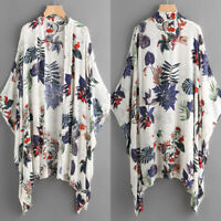 Women Batwing Asymmetrical Open Front Cardigan Floral Print Jacket Coat Tops US