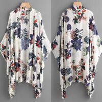 Women Batwing Asymmetrical Open Front Cardigan Floral Print Jacket Coat Tops US