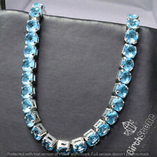23 Ct Blue Aquamarine Tennis Bracelet Jewelry Women Wedding Engagement Gift