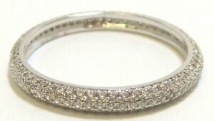925 Sterling Silver Pave Eternity Wedding Band Ring 1ct Simulated Diamond Size 6