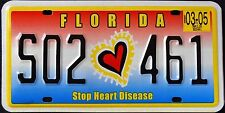 "FLORIDA "" STOP HEART DISEASE "" MINT FL Specialty Graphic License Plate"