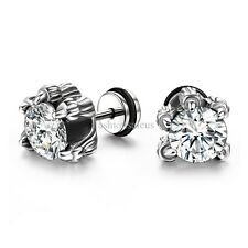 Cool 1 PAIR Stainless Steel Dragon Claw Clear Cubic Zirconia Mens Stud Earrings