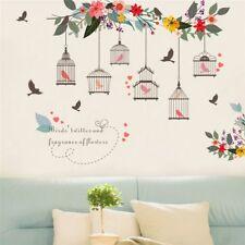 Colorful Flower Birds Birdcage Wall Sticker Decals Wall Art Home Window Decor
