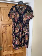 H&M Navy Pink Floral Size 14 Cotton Dress Brand New Bnwt