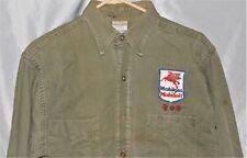 Vtg 1940s Texas Mobil Gas & Oil PEGASUS Station Uniform Patch OD Green Shirt