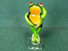 Glasfigur Glas Frosch Groß, Glaskunst, Glasobjekt Handgefertigt im Murano Stil