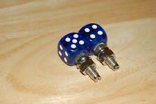 DUDDS DICE BLUE GEMS w/WHITE DOTS LICENSE PLATE BOLTS (SET OF 2)